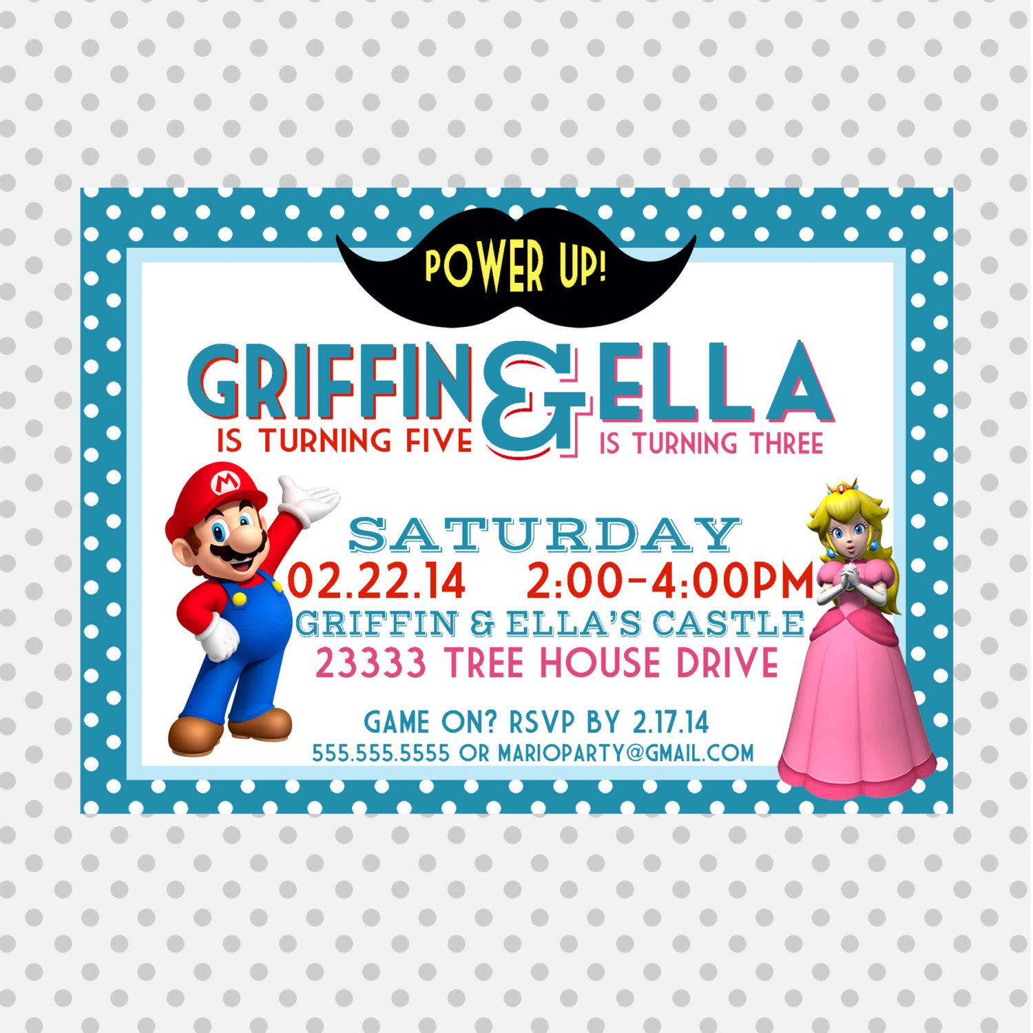 Mario princess peach birthday party invite joint mario party mario princess peach birthday party invite joint mario party princess peach mario monicamarmolfo Gallery