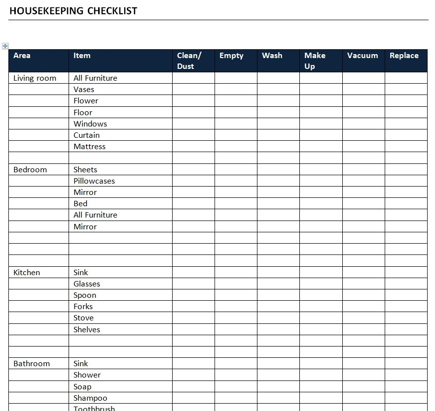 Housekeeping Checklist Word Template | Templates and Designs ...