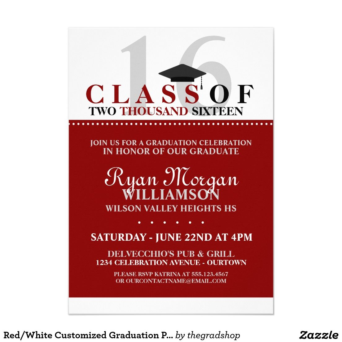 Redwhite customized graduation party invitation graduacion redwhite customized graduation party invitation filmwisefo