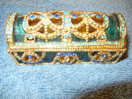 Vintage Rhinestone Jeweled Lipstick Holder With Gold Tone