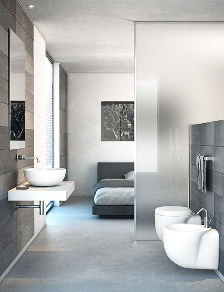 diseño-de-mamparas   Dormitorio con baño, Diseño de baños