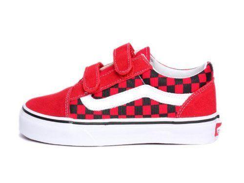 8b3fb68becb909 Vans Kids Old Skool V Checkerboard Red Black Vn-0d3z63y Vans.  30.00 ...