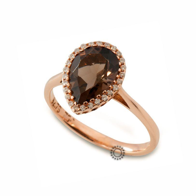Μοντέρνο μονόπετρο δαχτυλίδι ροζέτα από Κ18 ροζ χρυσό με δάκρυ καφέ (φουμέ)  χαλαζία  amp d40e29b5745