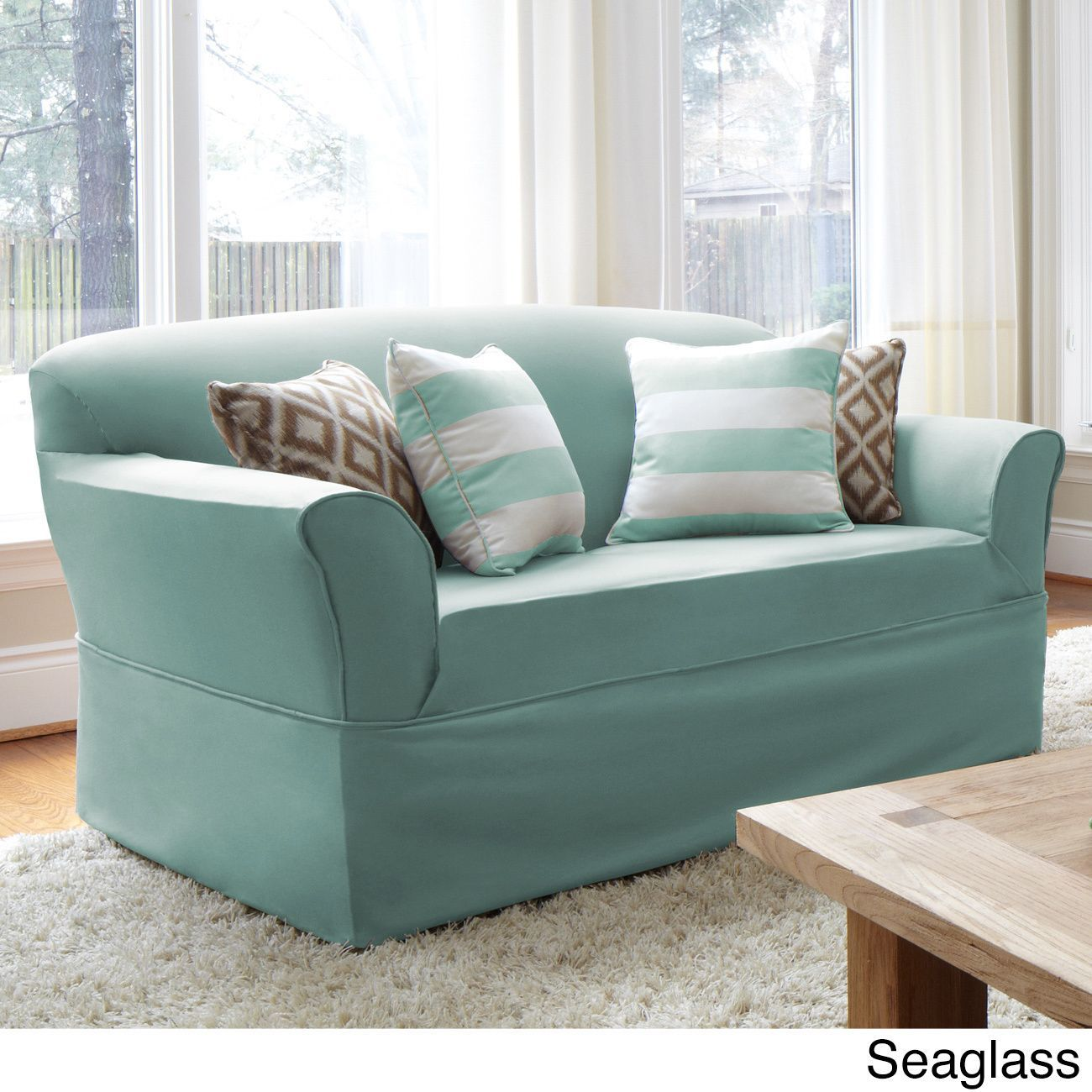 QuickCover Twill One Piece Relaxed Fit Wrap Sofa Slipcover