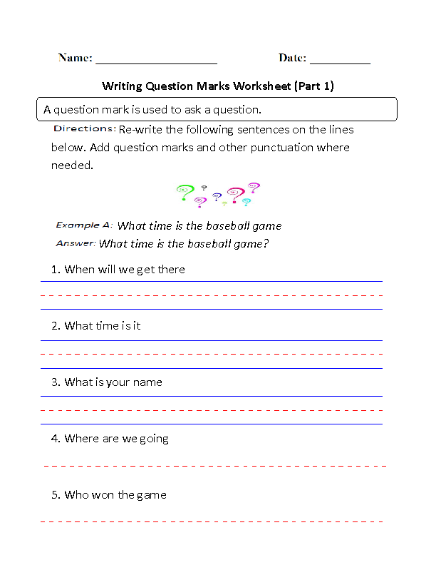 Writing Question Marks Worksheet Part 1 | Projects to Try | Pinterest