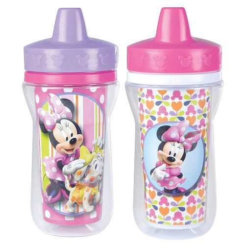 2pk Spill Proof DISNEY MINNIE MOUSE Sippy Cups Toddler Kids Girls BPA FREE PINK