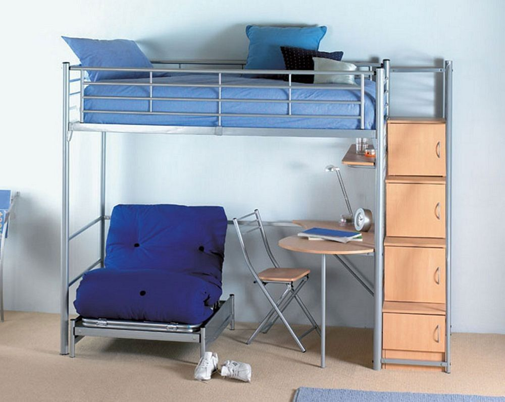 Metal loft bed with desk underneath   Bunk Bed with Desk and Chair  Interior Design Ideas for Bedroom