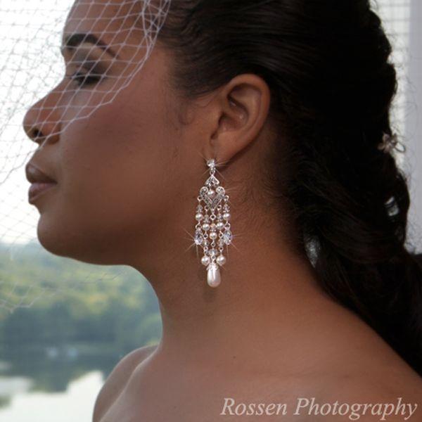 Pearl Bridal Chandelier Earrings, from T's Studio Jewelry - www.tstudiojewelry.com