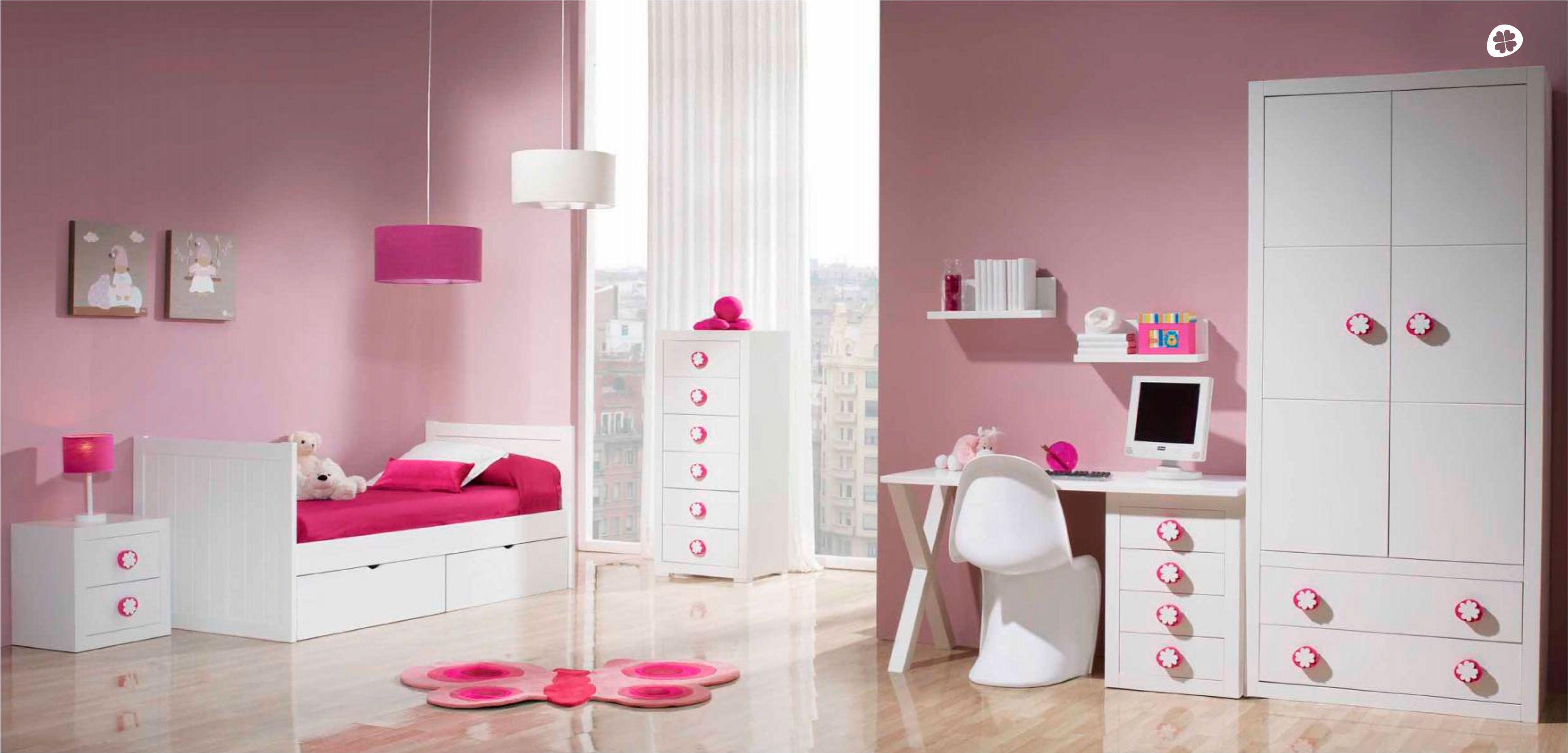 Dormitorio para ni as en blanco de tr bol dormitorios for Dormitorio nina blanco