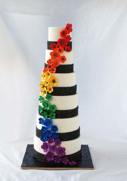 Wedding Cake Cakes Pinterest Rainbow Flowers Wedding Cake