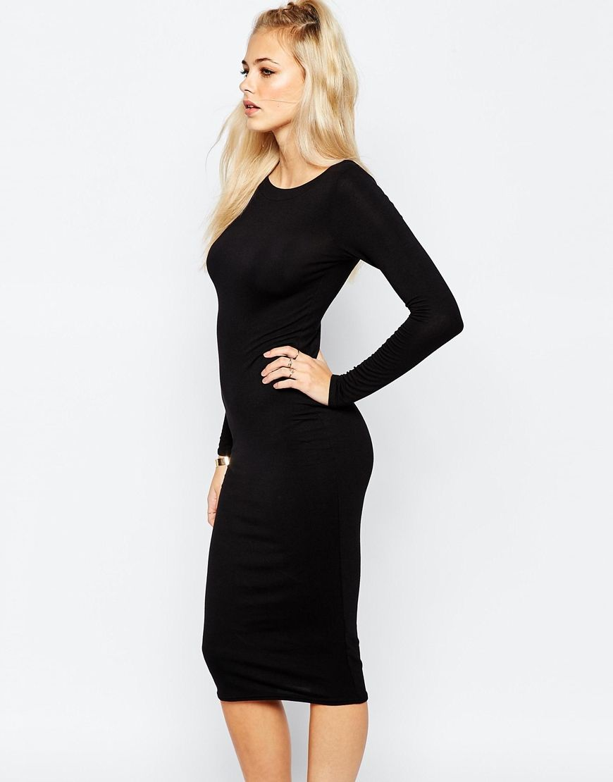 Boohoo long sleeve bodycon midi dress fashion pinterest midi