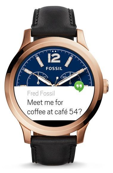 Fossil  Fossil Q - Founder  Round Leather Strap Smart Watch 40482c8c486