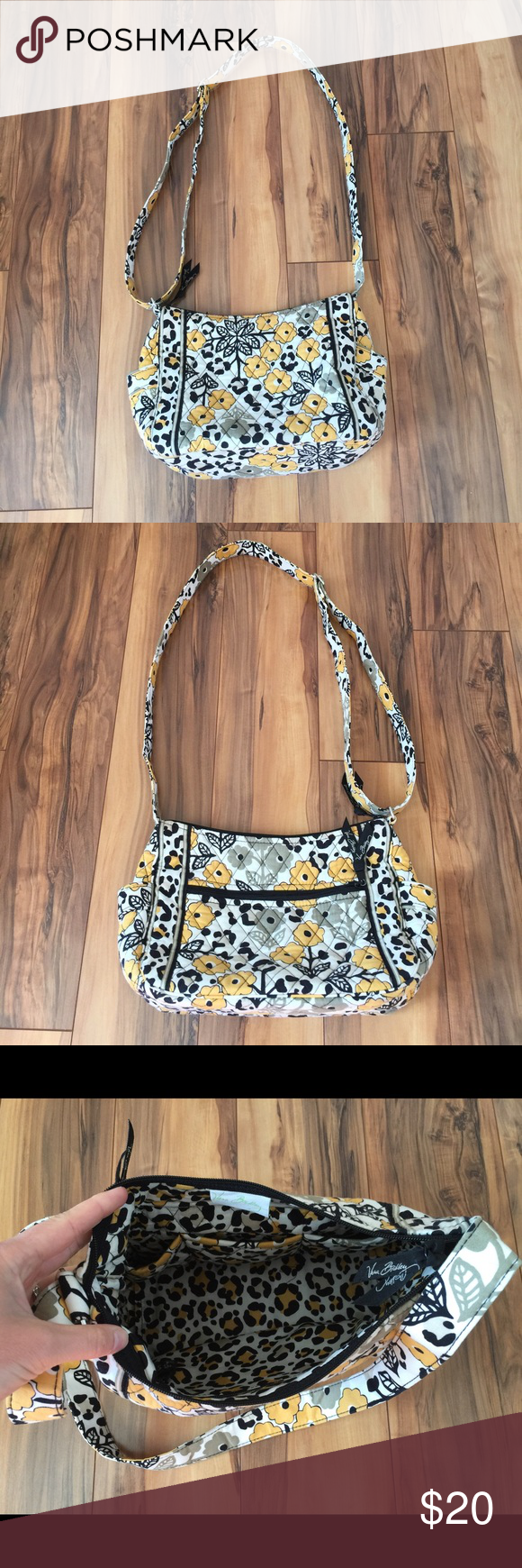 "Vera Bradley Go Wild Crossbody Bag Vera Bradley Crossbody Bag in retired Go Wild pattern. This bag was used one time and is like new! Strap can be adjusted to be a Crossbody strap or a shoulder bag. Outside of bag has 2 side open pockets and 1 large zip pocket. Zip top closure. Inside has 3 open pockets and 1 zip pocket. Bag measures 12"" X 8"". Vera Bradley Bags"