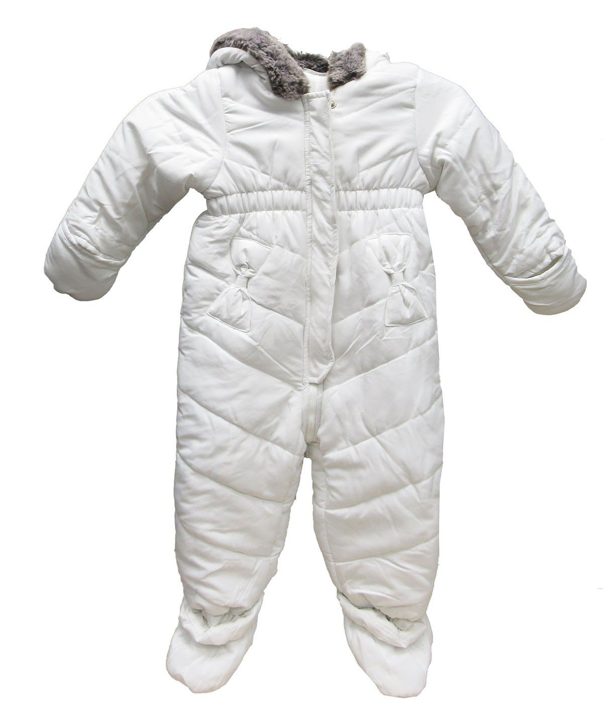 341e0a9f2dd7 First Impressions Baby Girls  Quilted Snowsuit with Faux Fur Trim ...