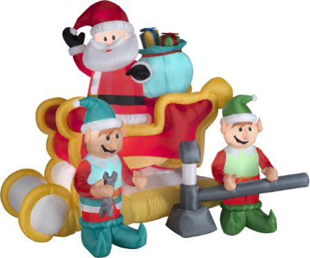 New for 2015...Santa and his pit crew elves are featured in this new Animated Gemmy Christmas Yard Inflatable. This brings back memories of the Elf movie where Santa's sleigh is broken down. Here we have two elves using their their tools as they jack Santa's sleigh up and down. This Santa Sleigh inflatable stands 5.50 feet tall and six feet high. Be the hit of neighborhood with all the kids!