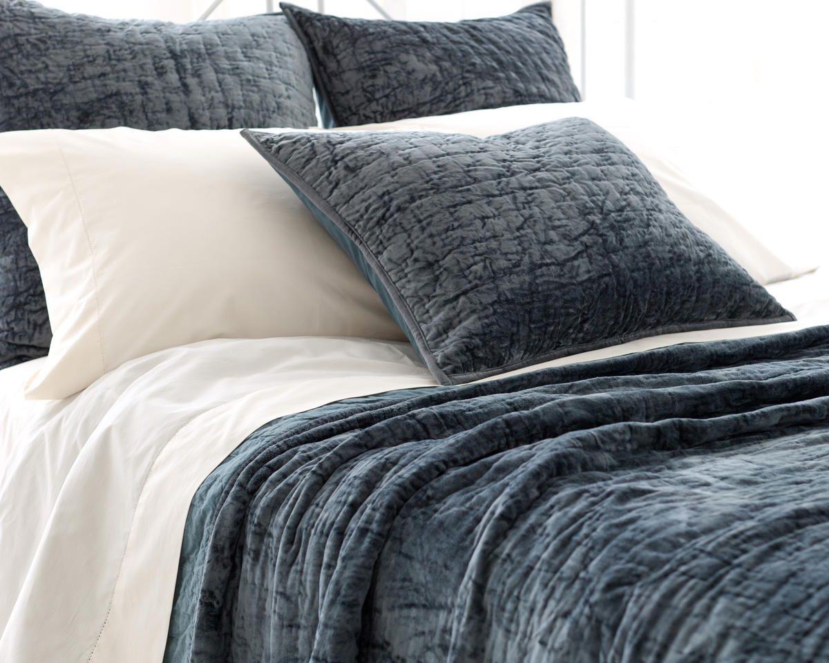 Soft Textured Blue Green Washable Velvet Coverlet Amp Shams