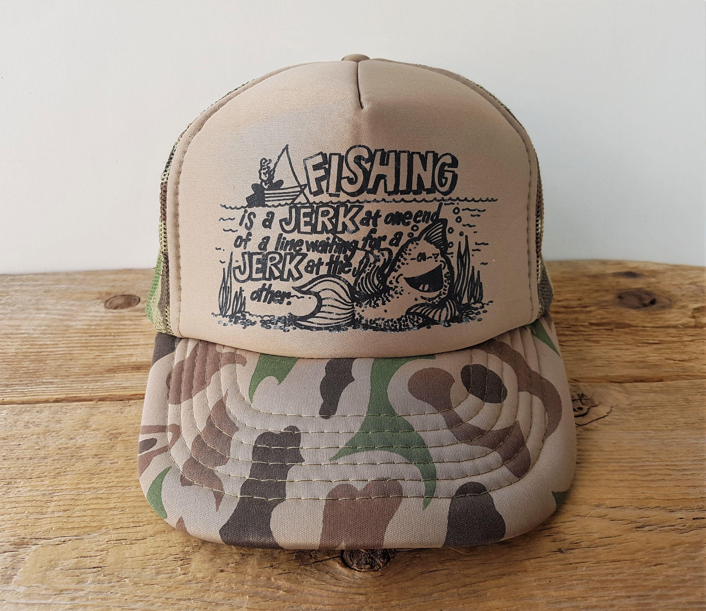 Vintage Fisherman Funny Camo Trucker Hat Fishing Is A Jerk Etsy Camo Trucker Hat Vintage Fisherman Trucker Hat