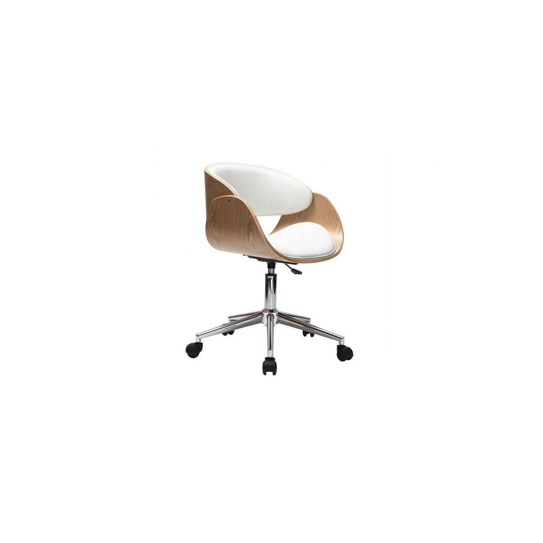 Miliboo Chaise design roulettes blanc et bois clair Bent pas