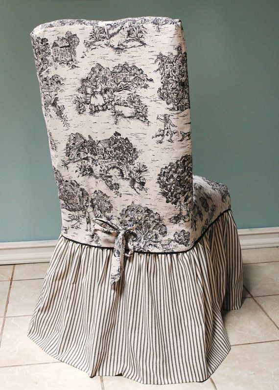 Black and Ivory Toile Chair Cover by PaulaAndErika on Etsy