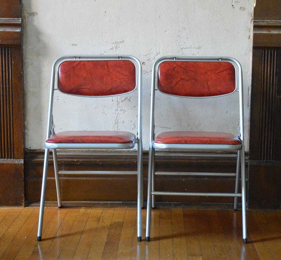 Terrific Most Awesome Pair Vintage Samsonite Folding Chairs Red Vinyl Cjindustries Chair Design For Home Cjindustriesco
