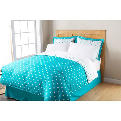 Mainstays dot bed in a bag bedding set polka dot bed in a for Polka dot bedroom ideas