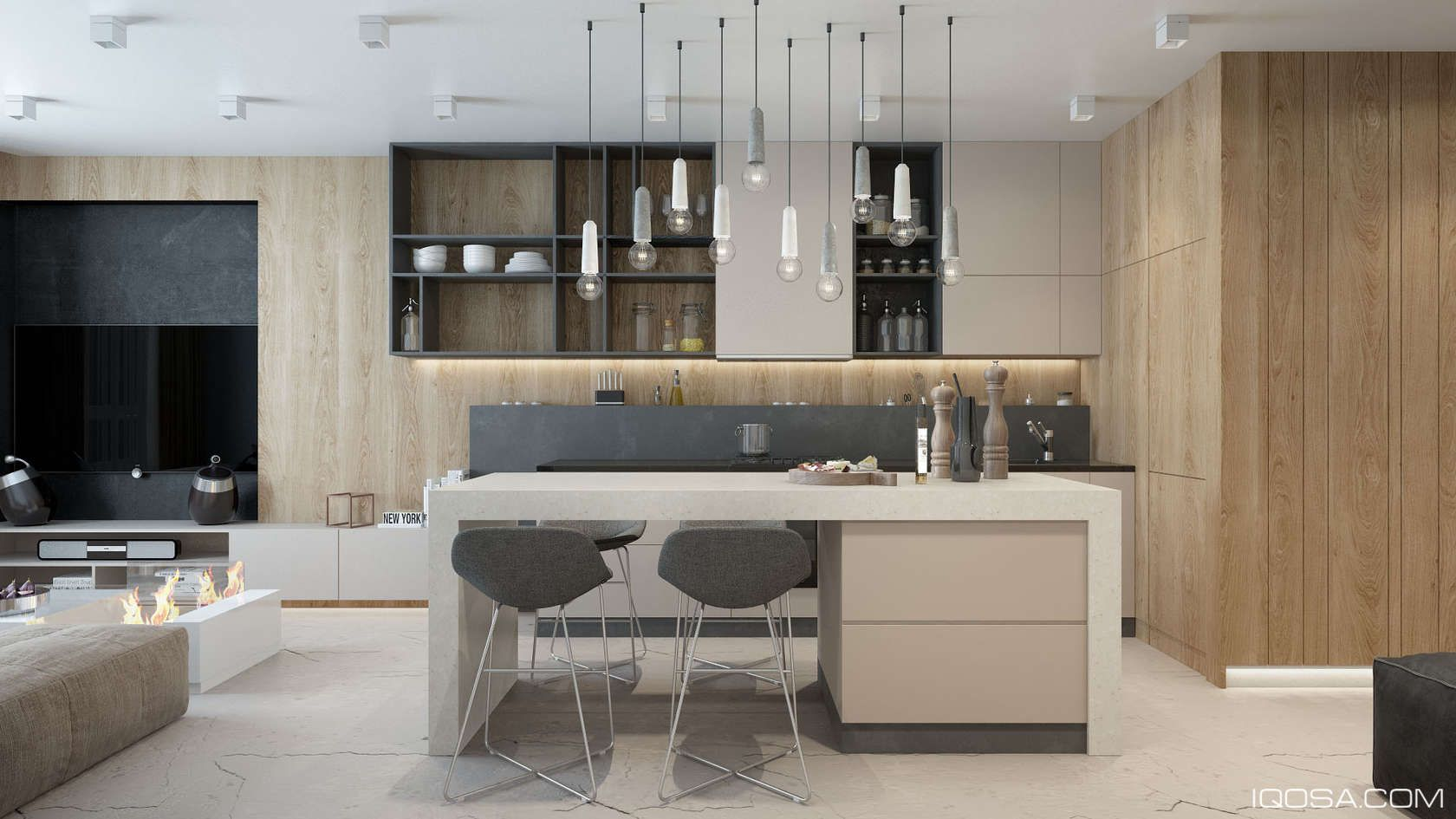 An Approachable Take On Luxury Apartment Design Modern Kitchen Design Modern Apartment Design Contemporary Kitchen Design