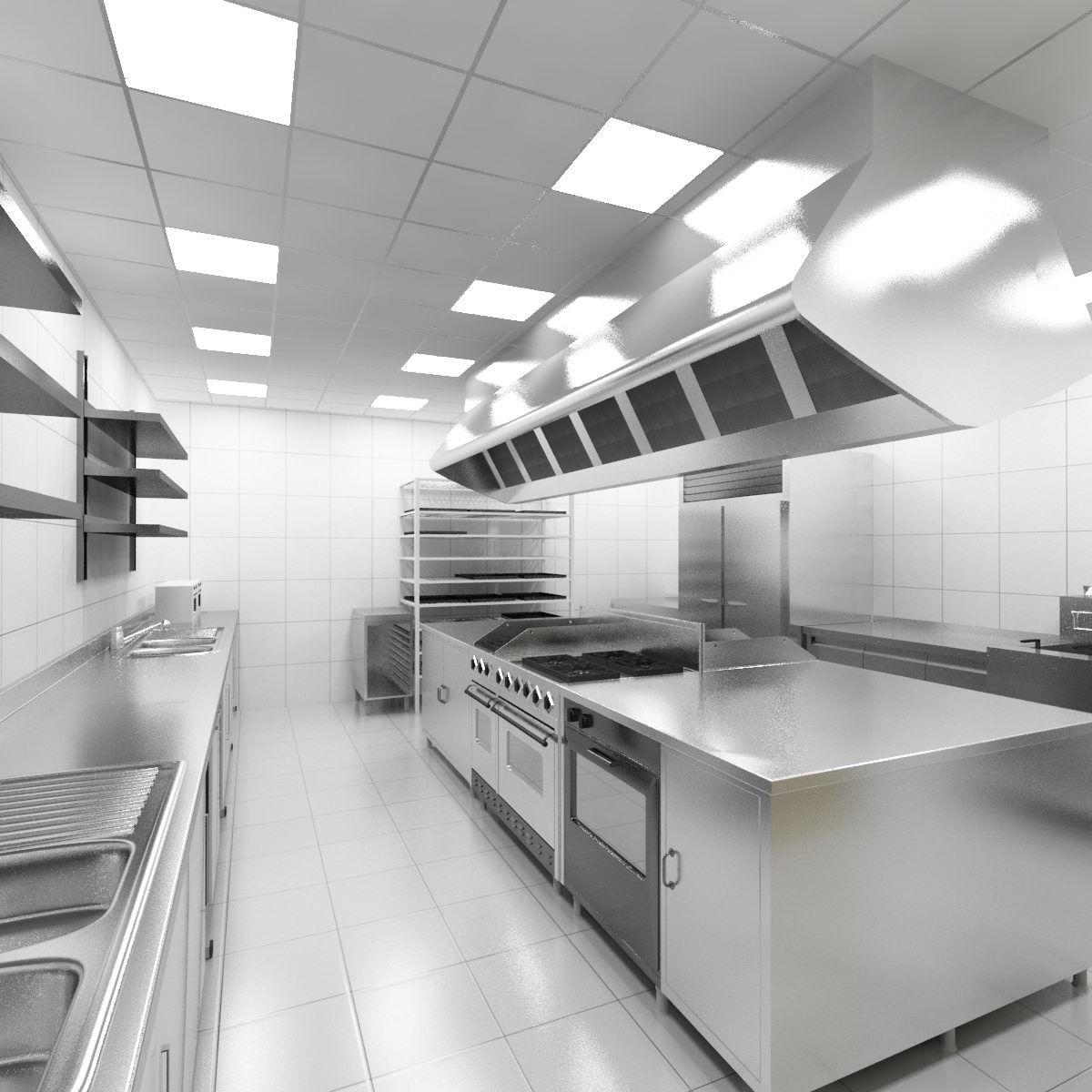 Commercial Kitchen 3d Design 3d Industrial Kitchen Model Другие категории Industrial Bedroom
