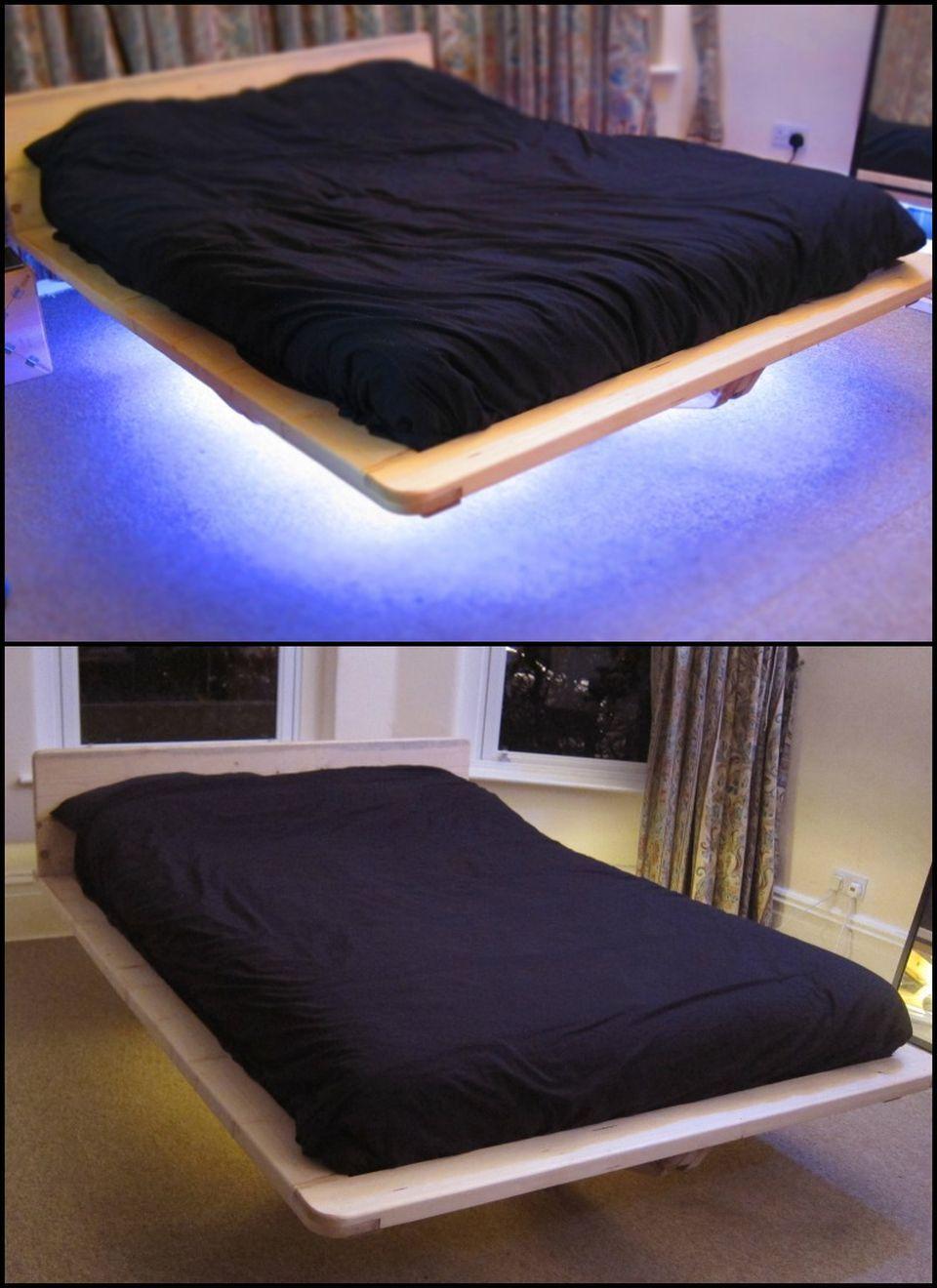 Amazing Modern Floating Bed Design With Under Light Hoommy Com Floating Bed Bed Design Floating Bed Frame