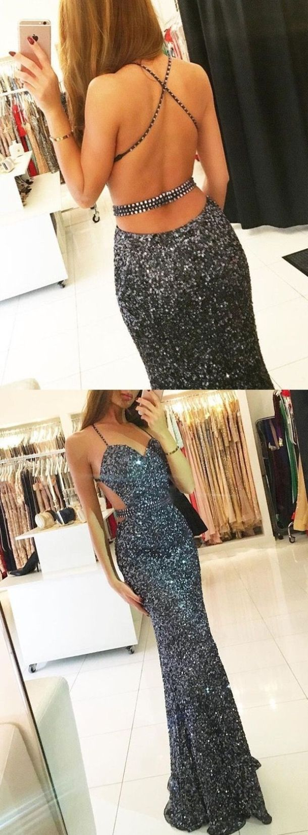 Sheath spaghetti straps navy blue sequins prom dress with beading
