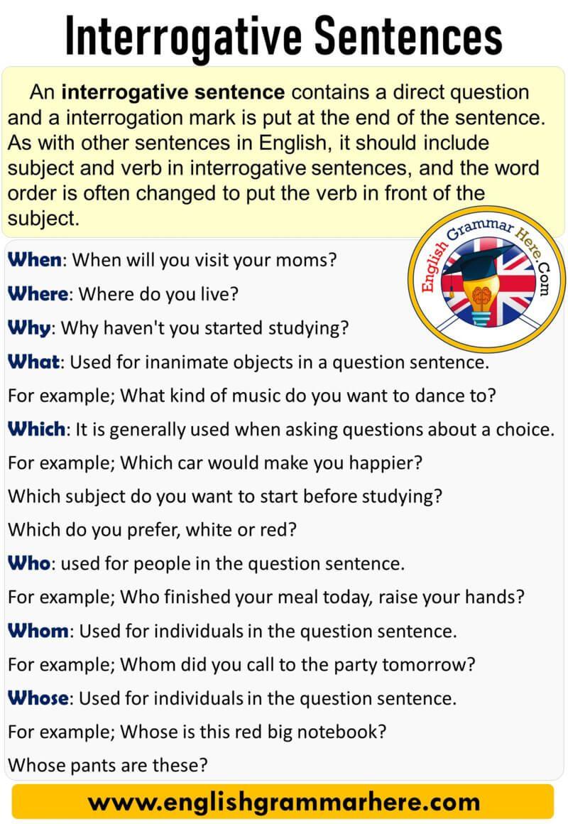 English Interrogative Sentences Definitions And Examples 10 Interrogative Sentences Table Of Content English Grammar Essay Writing Skills Learn English Words