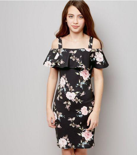 Teens Black Floral Print Cold Shoulder Frill Trim Bodycon Dress ...