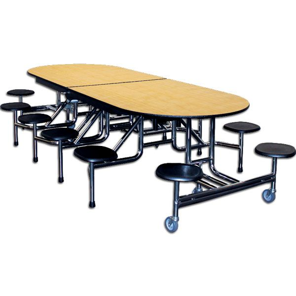 Elongated Mobile Stool Cafeteria Tables
