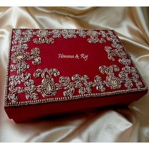 Red And Silver Crystal Wedding Invitation Boxes
