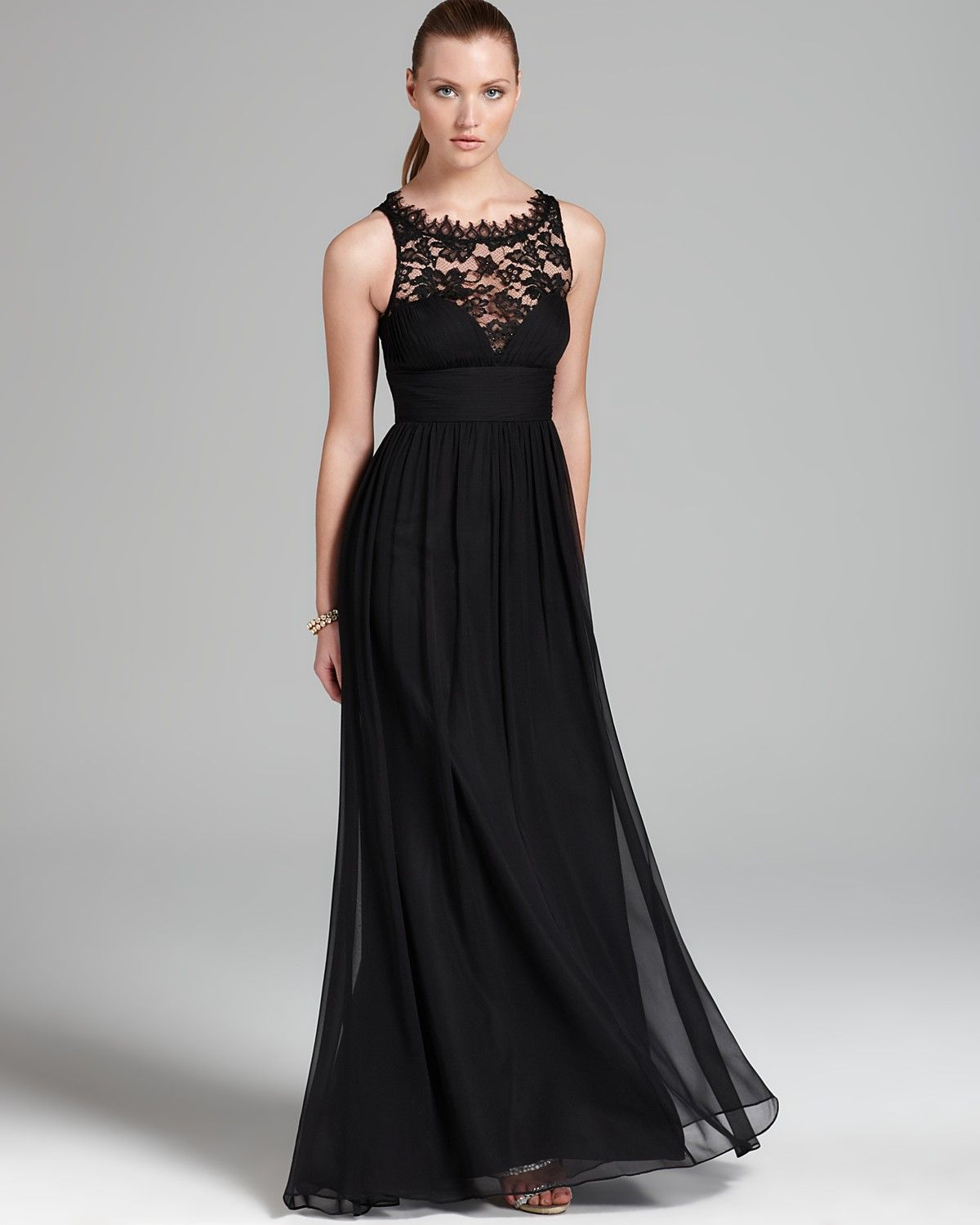 Aidan mattox gown lace neckline sleeveless bloomingdales enjoy the country black chiffon and lace jewel long bridesmiad dress with various shades of colorsaffordable bridesmaid dress featuring the latest designs ombrellifo Images