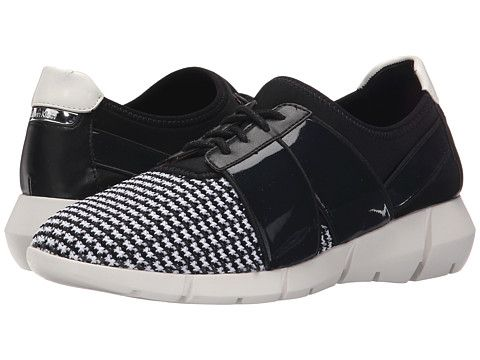 Womens Shoes Calvin Klein Wisteria Black/White Stretch Knit/Leather