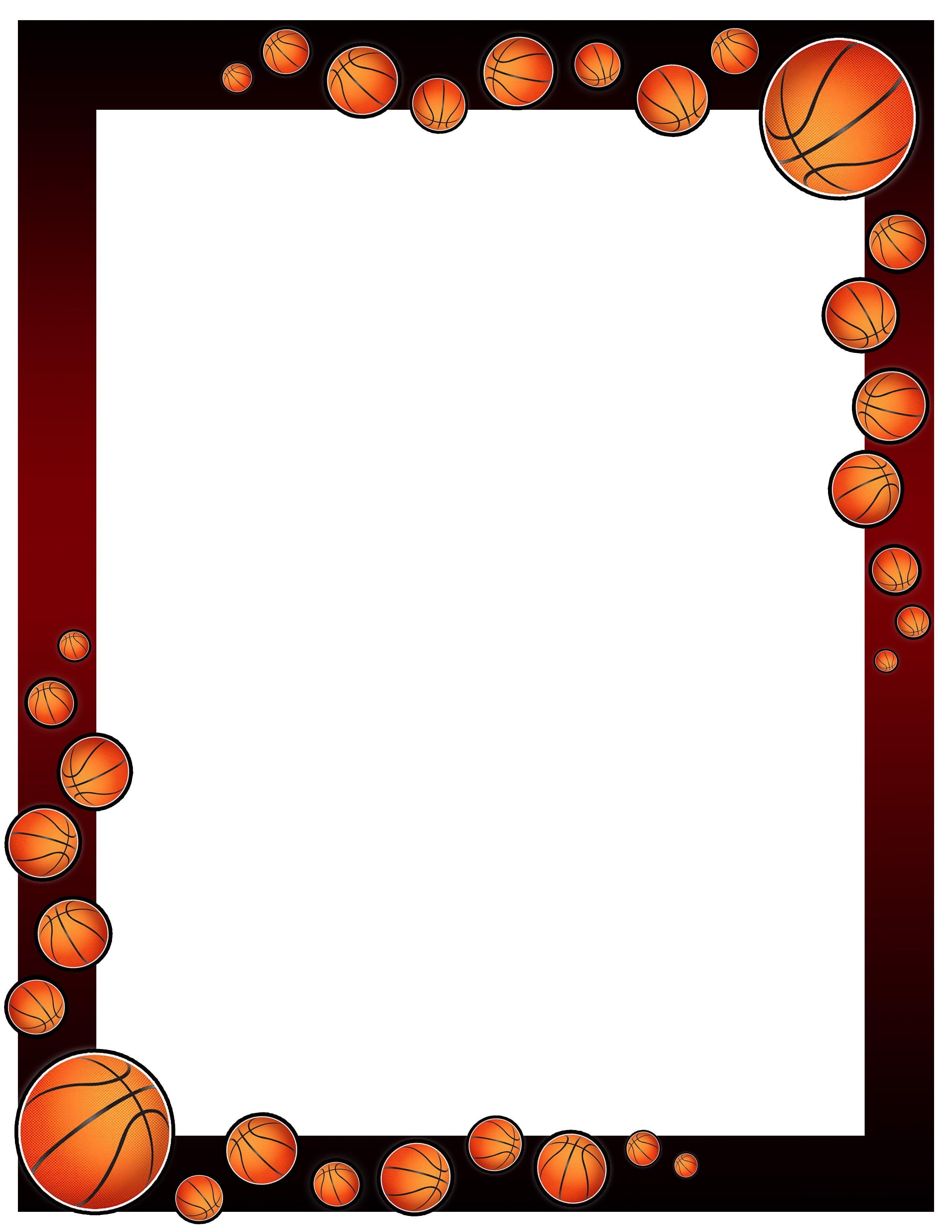 Basketball Border Design 001 Basketball Theme Border Design Basketball Birthday Parties Basketball border for microsoft word