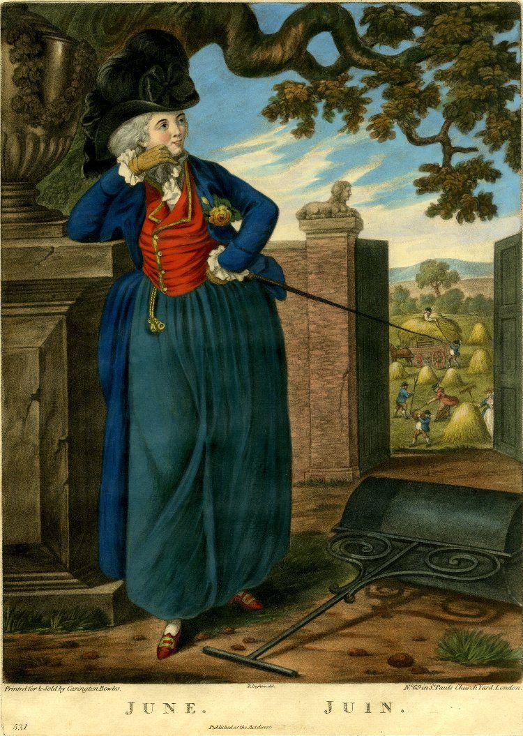 "The Twelve Months, 1781. ""June"". British Museum print , via Diary of a  Mantua Maker."