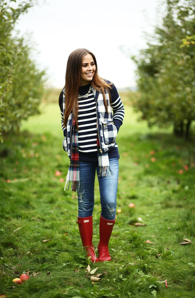 Layered Fall Look Navy Buffalo Vestm Striped Sweater Red