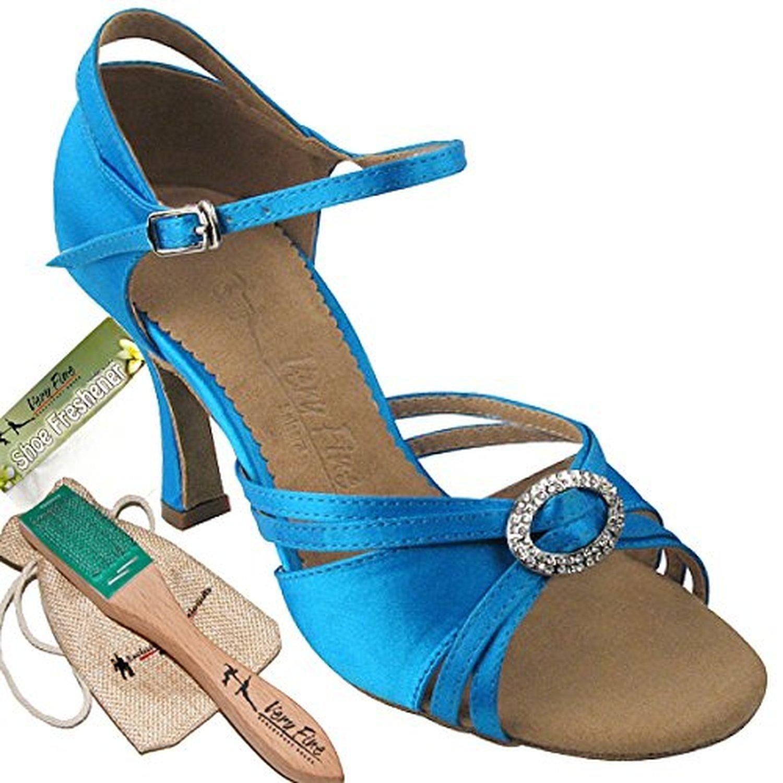 Ladies Women Ballroom Dance Shoes for Latin Salsa Tango SERA1154 Blue Satin 2.5 Heel