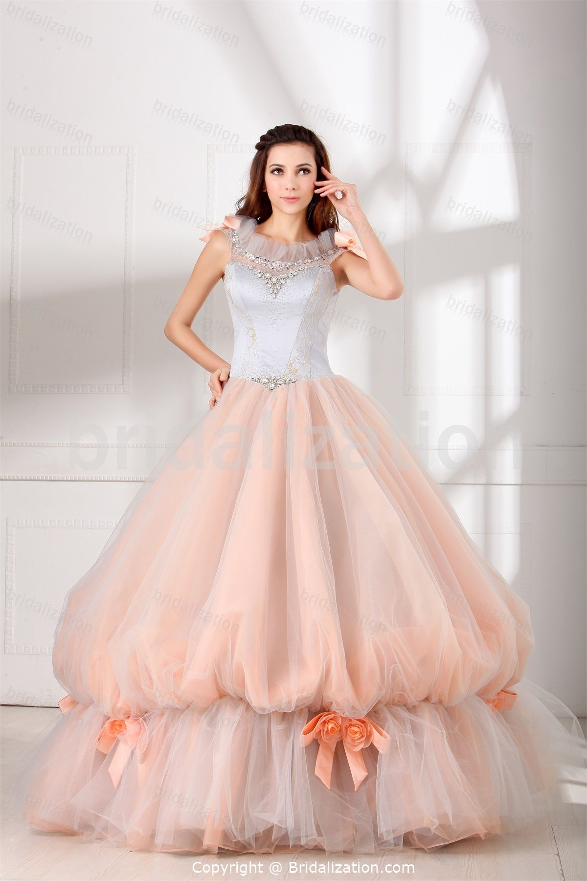 White and silver wedding dresses  SilverPink Hourglass Ball Gown Natural Scoop Outdoor Garden