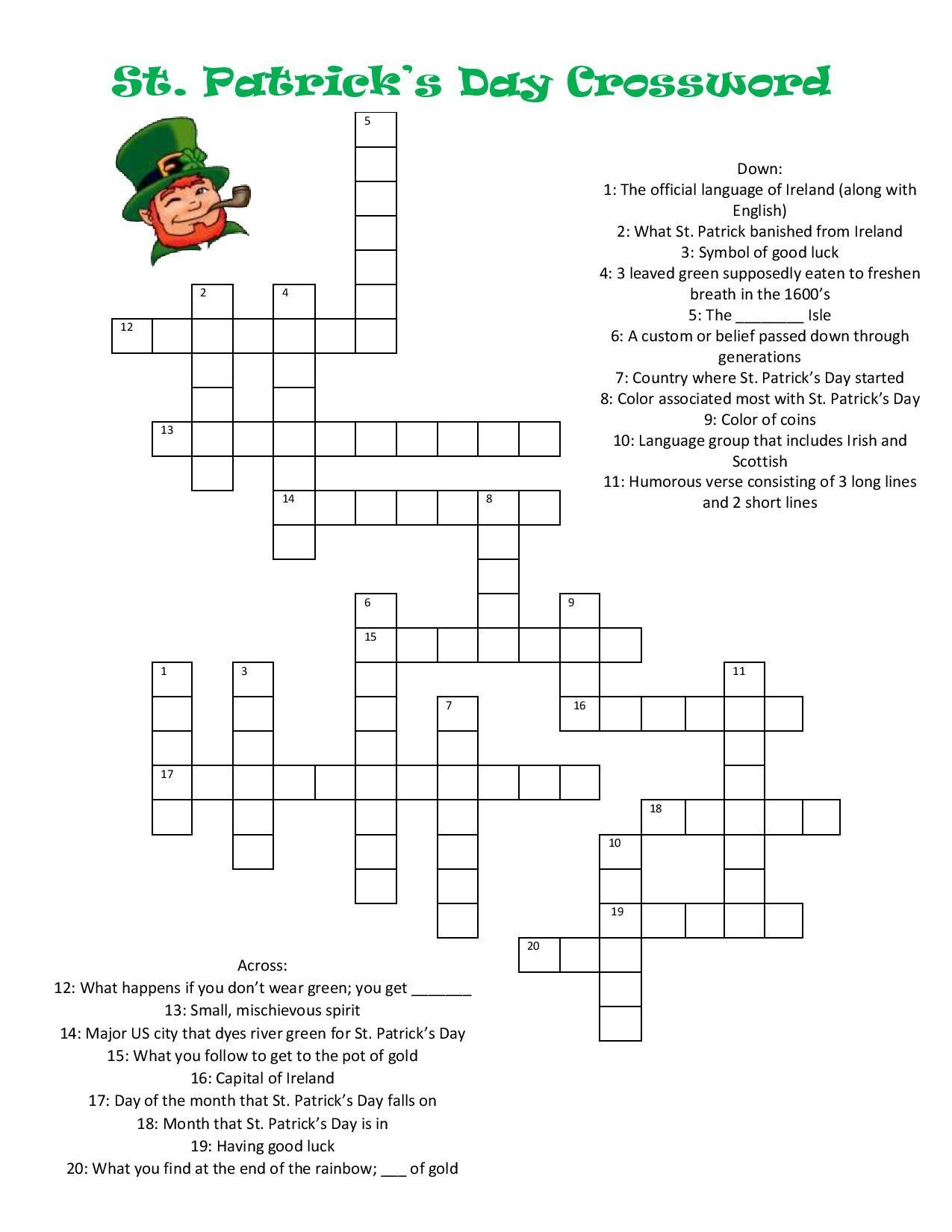 St Patrick S Day Crossword