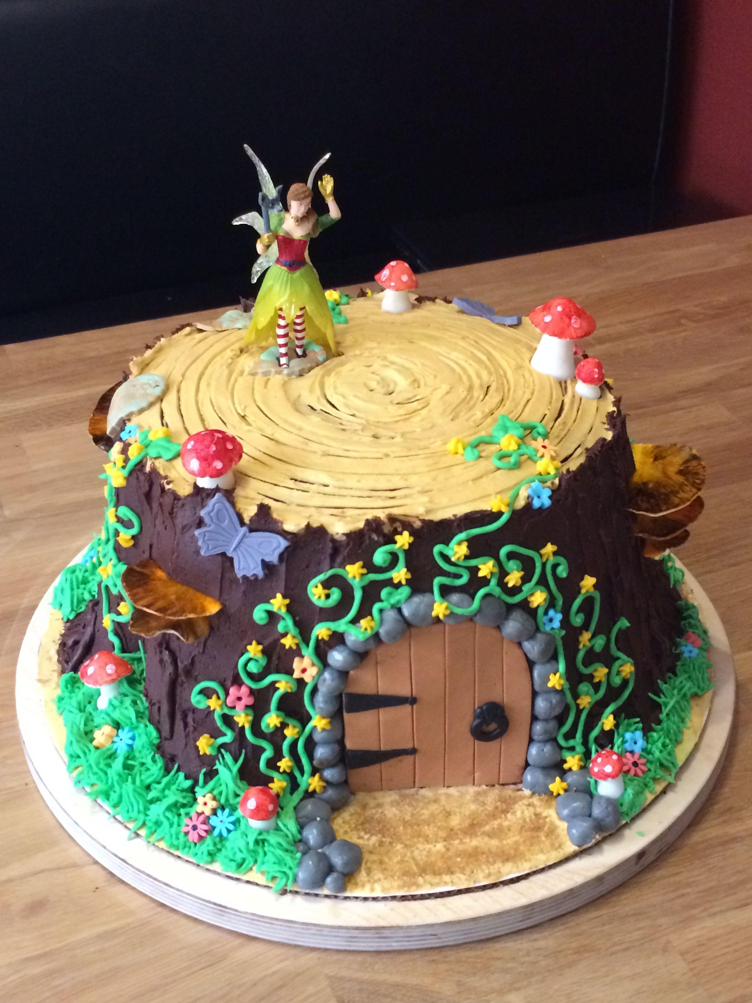 Fairy house tree stump cake fairy garden birthday cake