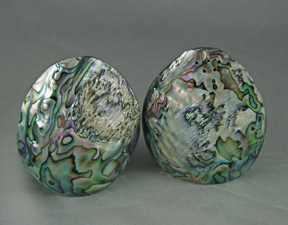 Vintage 60s paua abalone shell salt and pepper shakers egg shape iridescent salt pepper - Egg shaped salt and pepper shakers ...