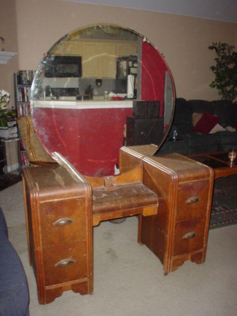 Image Detail for - Collectibles-General (Antiques): vanity, wood veneers, - Antique Wooden Vanity Antique Furniture