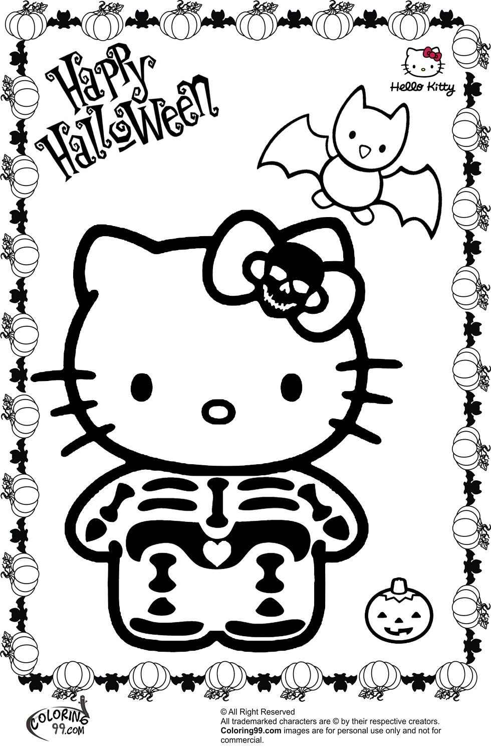 Colouring in sheets for halloween - Hello Kitty Halloween Skeleton Coloring Pages