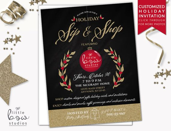 image regarding Printable Holiday Invitation identified as Vacation Sip and Retail store Printable Invitation, Printable Business