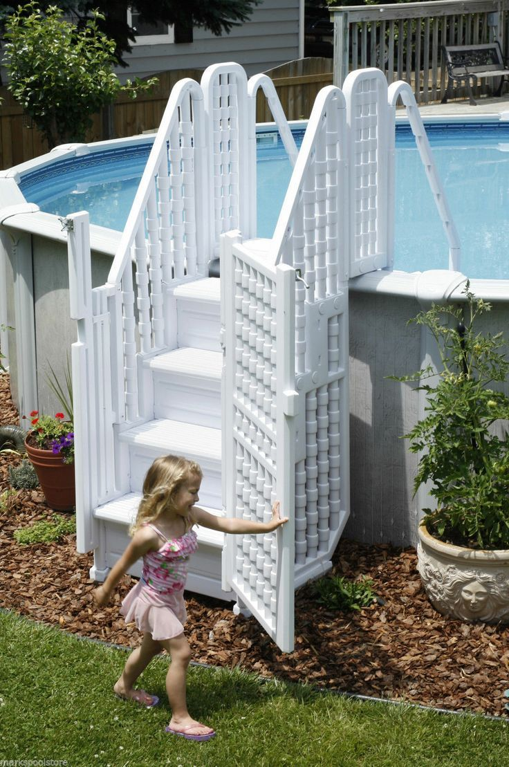 Charmant Above Ground Pool With Gates | ... STEPS ENTRY SYSTEM ABOVE GROUND SWIMMING  POOLS