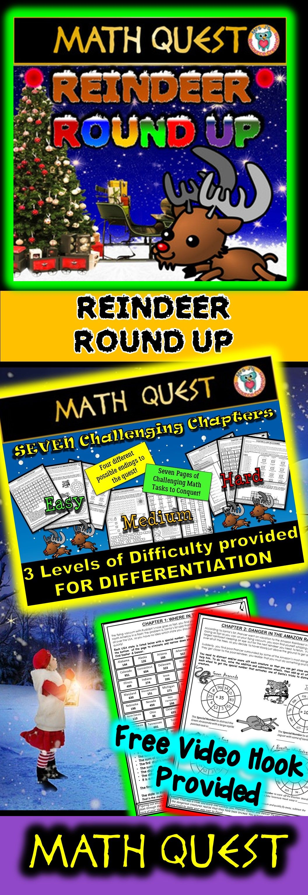 Christmas Math Quest! Differentiated levels provided