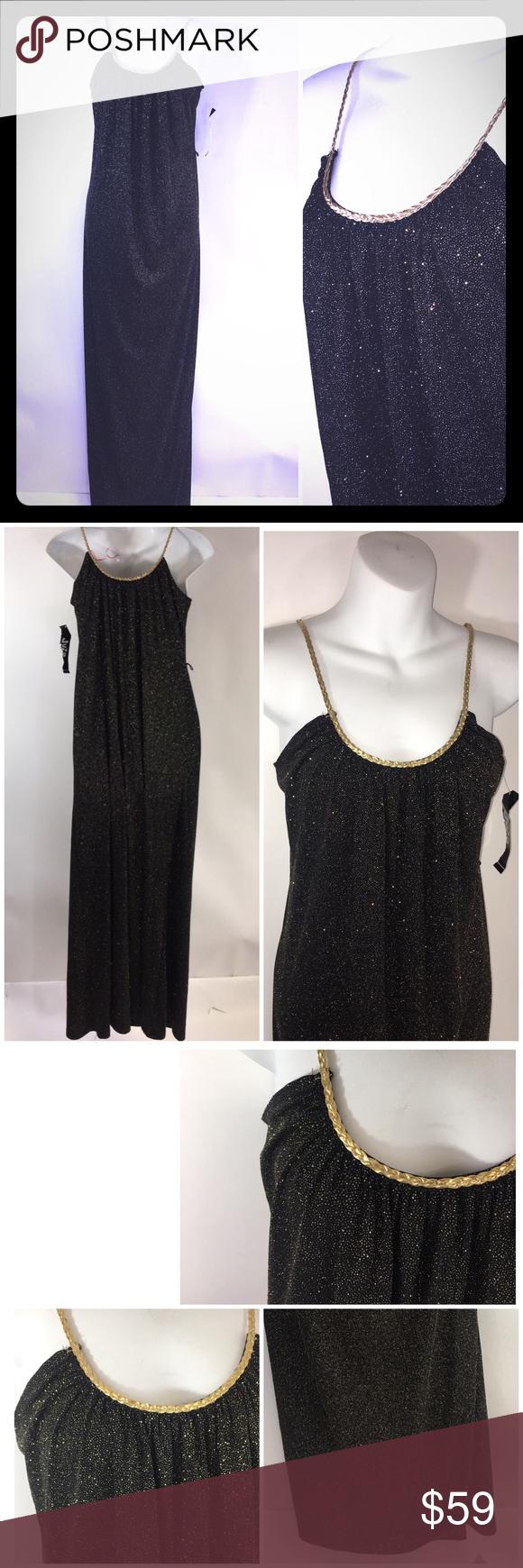 Jump Blk Gold Sleeveless Maxi Dress 1 2 New Nwt Maxi Dress Party Gold Maxi Dress Vegas Dresses