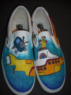 Custom Painted Vans Shoes agggghhhh! yellow submarine! like